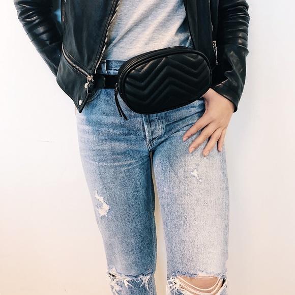 WonderlustApparel Handbags - !Small Defect! CAIT Vegan Leather Quilted Belt Bag